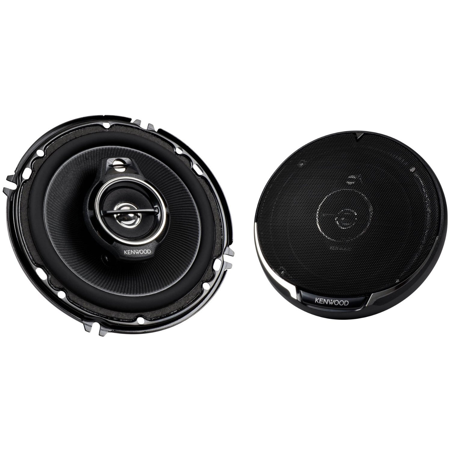 "Kenwood KFC-1695PS 320W 6.5"" 3-Way Performance Series Flush Mount Coaxial Speakers with Paper Cone Tweeters, Set of 2"