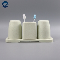 Eco-Friendly Protection Materials Wheat Straw Cup Toothbrush And Toothpaste Storage Box