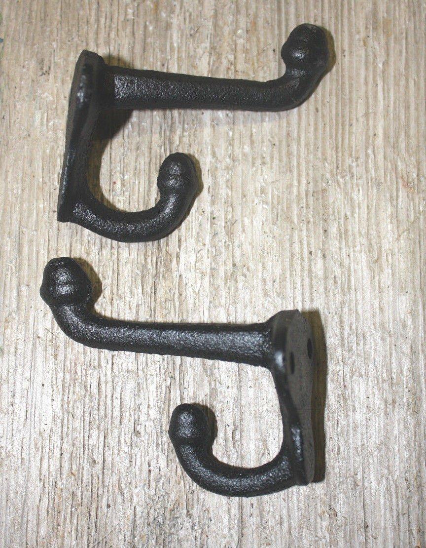 2 Cast Iron Tack Saddle Hook Style Coat Hooks Hat Hook Rack Hall Tree BROWN