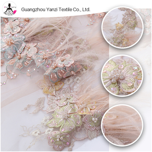 Fashion garment fabric design dress feather beaded tulle embroidered fabrics