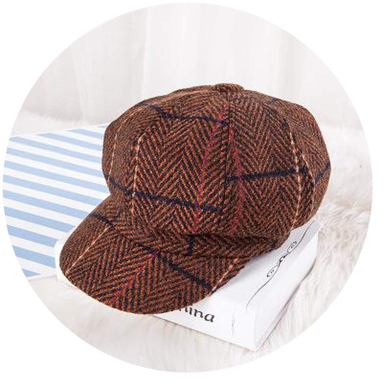 cb572bbc46d27 Rising ON-Berets Beret Vintage Newsboy Cap Octagonal Stripe Plaid Beret Hat  Girls Flat Hat