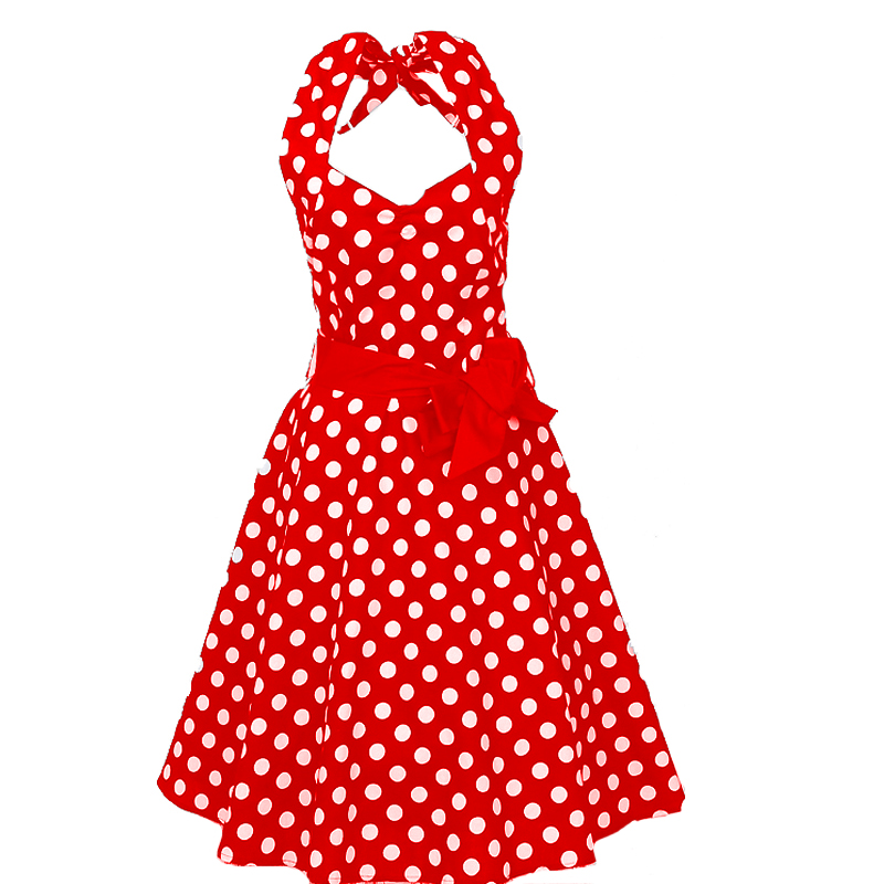 drop ship wholesale large <strong>sizes</strong> red white polka dots 50s design sexy party halter <strong>dress</strong>
