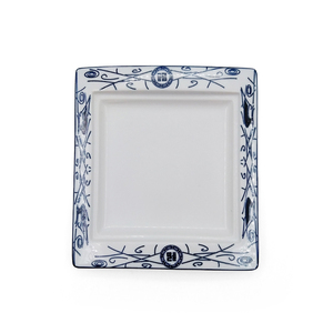 good quality royal ceramic blue and white square flat plate