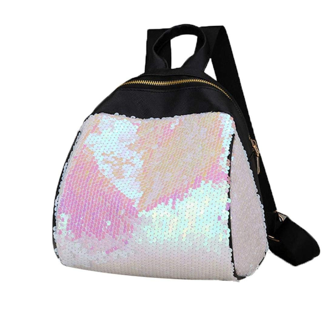 Women Teen Girls Glitter Reversible Sequins School College Backpacks Rucksack Shoulder Bag Purse Travel Satchel (White)