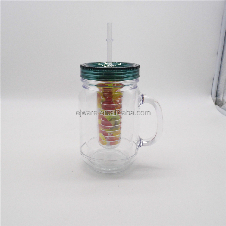 20oz mason jar fruit infuser plastic ice mug double wall mason jar with infuser