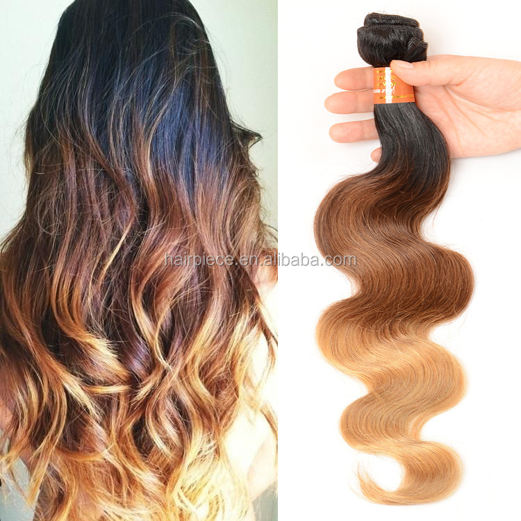 ombre hair weaves hot sale ombre weaving hair 1b/#4/27# color three tone color Malaysian human hair weft mix length