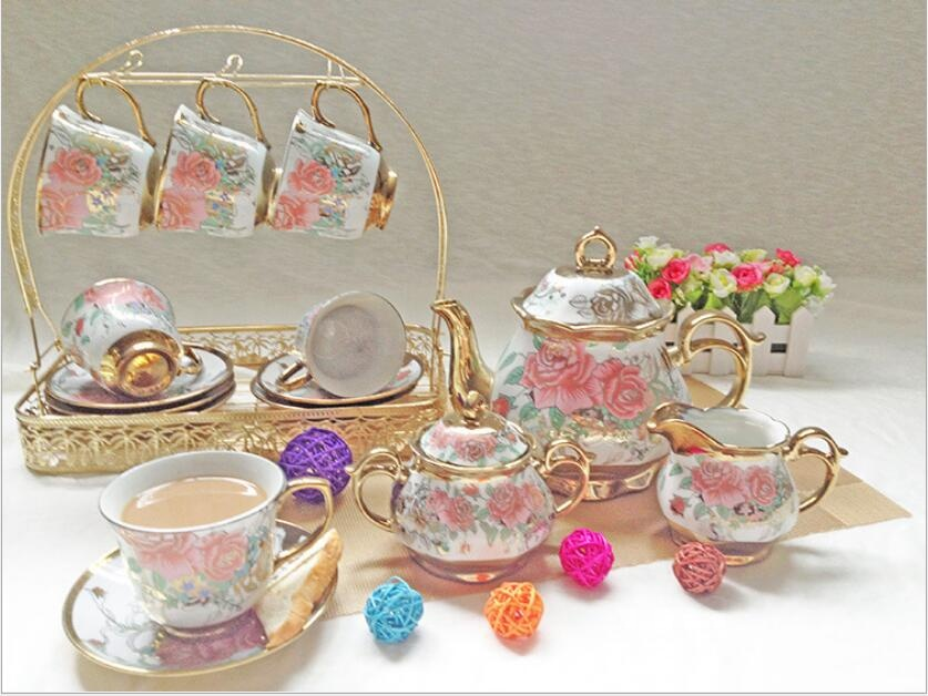 15pcs/set Delicate Bone china Coffee Cup Set European Vintage Tea Cup Tea Kettle Saucer Set