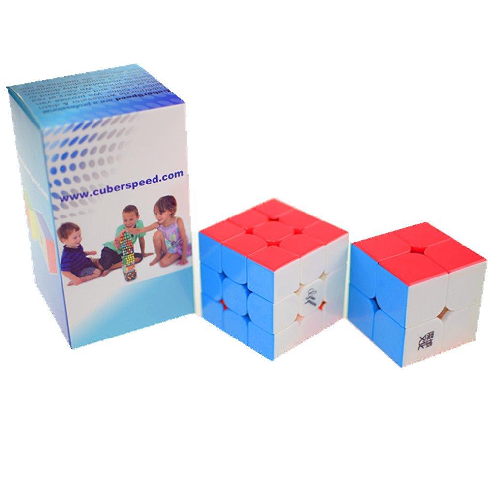 CuberSpeed Speedcubing Advanced Bundle Moyu Weipo 2x2 Stickerless & Guoguan Yuexiao Stickerless 3X3 Magic cube color Speed cube Puzzle