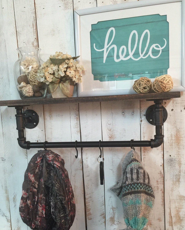 Entry Way Shelf, entryway shelf, coat rack, Rustic Wood Shelves, rustic shelf, industrial shelves, industrial shelf, wooden shelf, rustic home décor, wall shelf, entry way shelf
