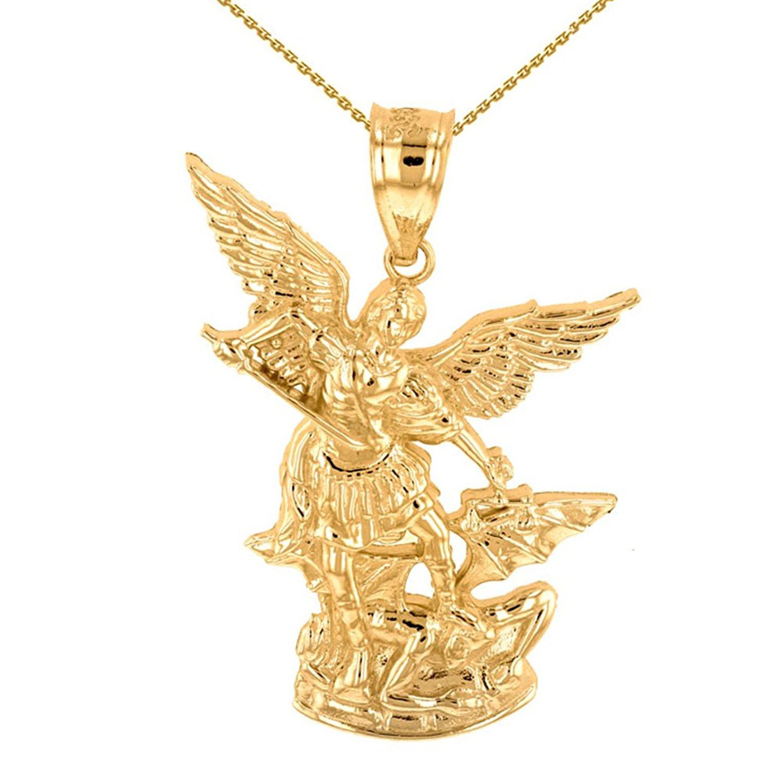"14k Yellow Gold Catholic Saint Michael The Archangel Pendant Necklace (1.35"")"