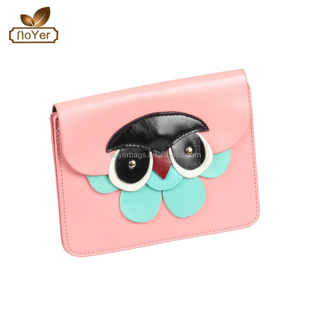2015 Owl applique messenger bags in Candy colored woman mini shoulder bags