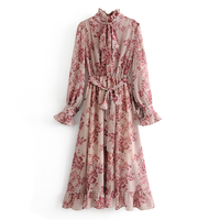 Good quality vintage design ruffle neck and sleeve floral printed women lace up long dress with belt