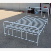 Factory White Powder Coating Iron Cheap Double Metal Bed