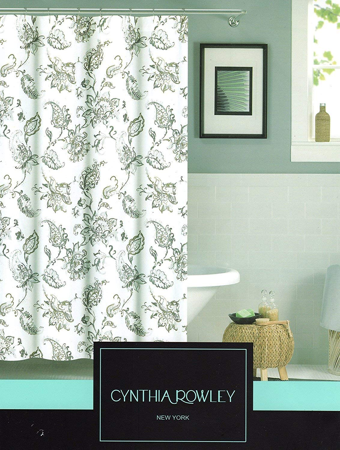 Cynthia Rowley New York Jacobean Flowers Branches Fabric Shower Curtain 72 By