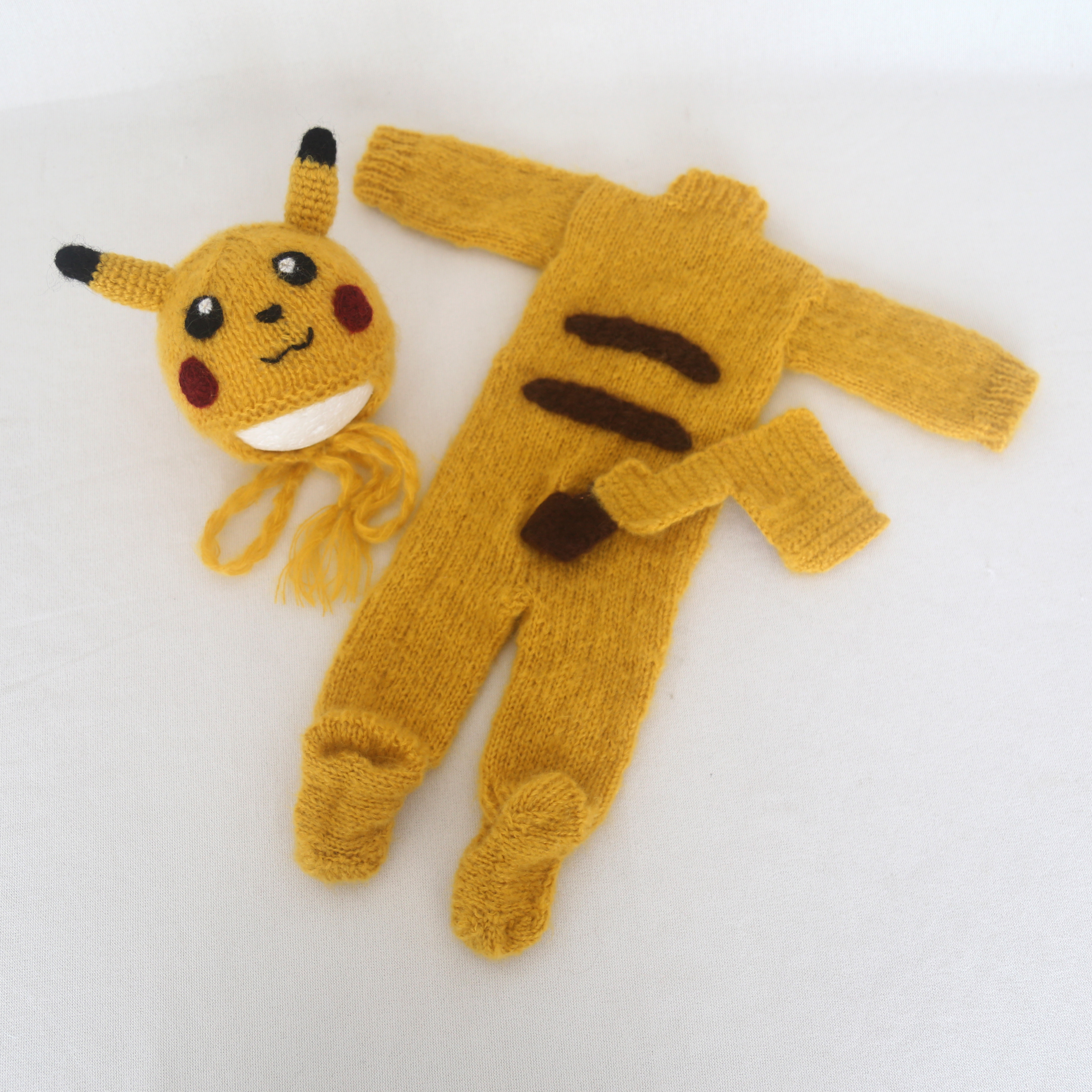 Newborn Knit Hooded Romper Bonnet set Baby Pikachu Overall Outfit Photography props Handknit Footed Romper photo props фото