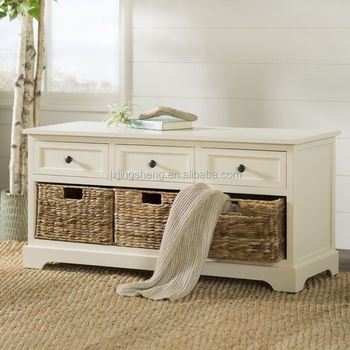 Ivory Wooden Storage Bench Entryway Seat Mud Room Bedroom Entry Shoes  Baskets - Buy Bedroom Storage Bench,Finland Import Furniture,Shoe Rack With  Seat ...