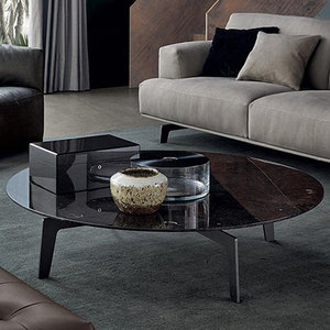 Living room furniture GLT001 black round marble top coffee table