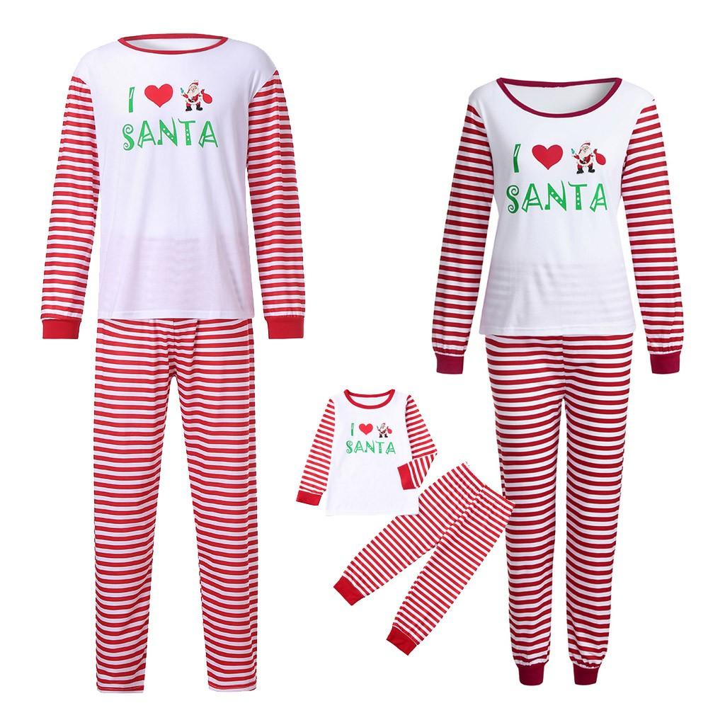 2019 2019 New Fashion Pink Stripe Printed Pajamas Cute Women Family ... 7e5380b47