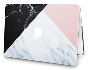 White Marble with Pink Black Plastic Case Hard Shell Cover For Macbook Air 13.3 inch