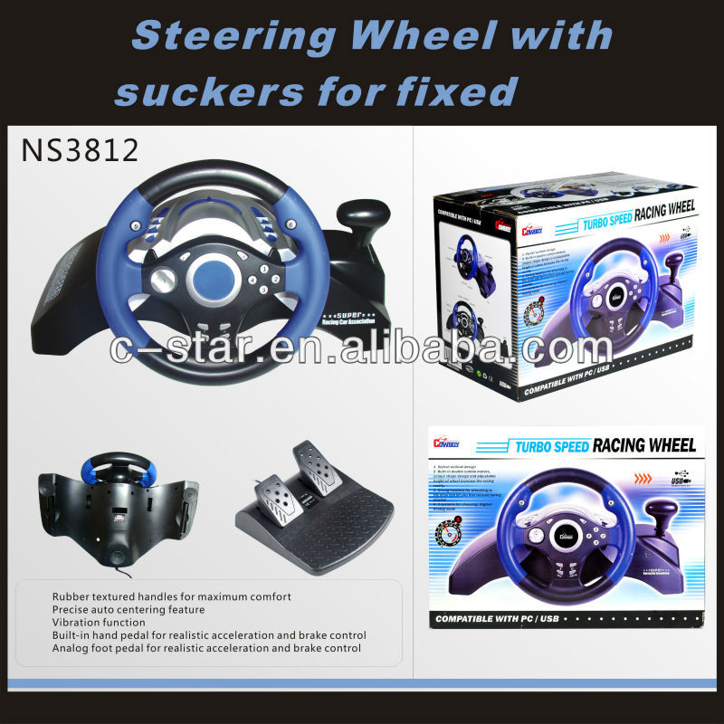 2017 hot selling game car steering wheel for PC