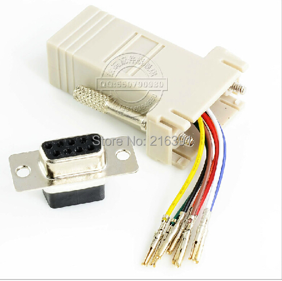 10PCS/Lot RS232 DB9 Female/Male To RJ45 Female connector Convertor Extender (5pcs DB9 Female+5pcs Male)