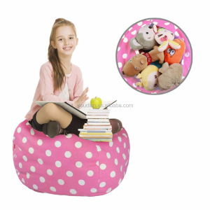 Premium Quality Cotton Canvas Storage Plush Toys Stuffed Animal Storage Bean Bag for Kids