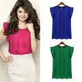Women Blouses Chiffon Clothing Summer Lady Blouse Shirt Sleeveless Top Casual solid blouse European Round Collar