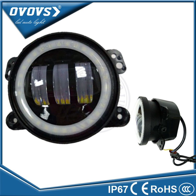 Ovovs guangzhou supplier 4 inch 30w c-ree led drl fog light with halo for t-oyota offroad