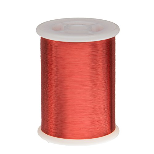 """Remington Industries 43SNSPR.5 43 AWG Magnet Wire, Enameled Copper Wire, 8 oz., 0.0024"""" Diameter, 33046', 2.5"""" Length, Red"""