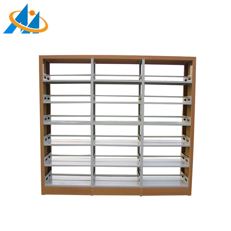 Popular metal book shelf/library wood and steel combination book case
