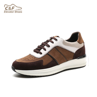 CF 2019 Fashion brown genuine leather sneakers casual sports height increasing shoes men