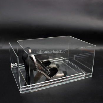 Manufacture High Transparent Dron Front Shoe Box Plastic Clear Glass Shoe Display Case Acrylic Shoe Box With Drawer