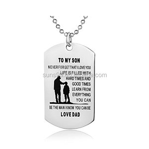 Dad Mom To Son Dog Tag Necklace-never Forget I Love You-personalized Custom Military Dogtags Pendant Necklace