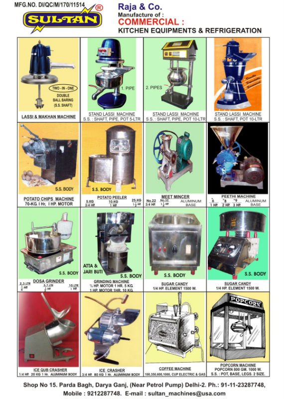 lassi machine, juice machine, ice crasher, softy machine, vertical fridger, water cooler, display counter, chatni machine