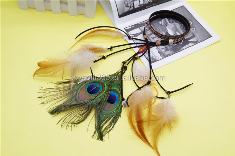 Two Luxury Peacock Feather Headband Fashion Hair Accessories Indian Style Headband