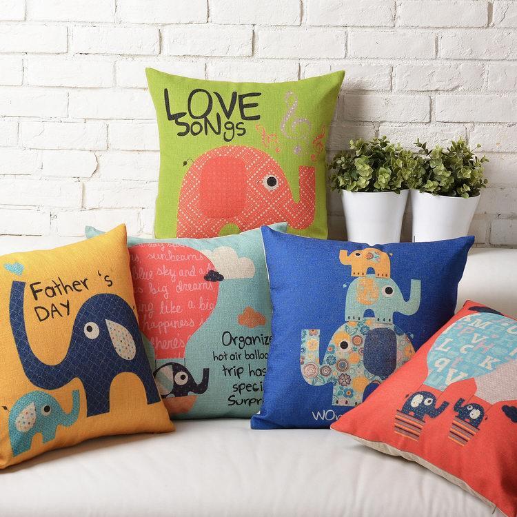 Free Shipping Lovely Blue Elephant Linen Fabric Throw Pillow Hot Sale New Home Fashion Christmas Decor 45cm Bar Sofa Car Cushion