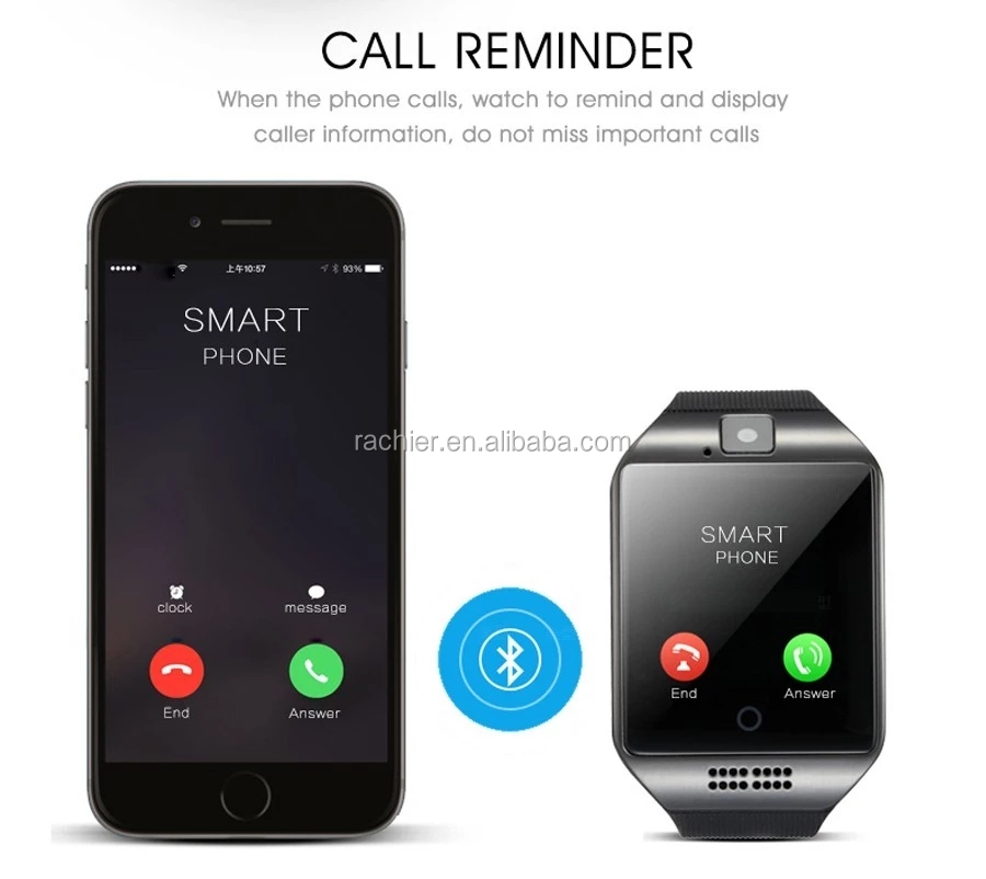 Best selling 2019 smart watch Q18 with camera sim card for samsung for iphone sport smart phone watch, smartwatch