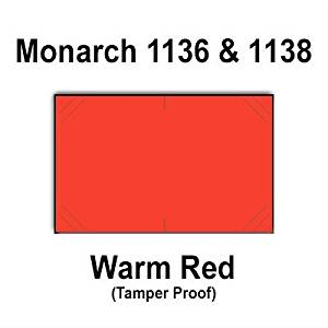 112,000 Monarch 1136/1138 compatible Warm Red General Purpose Labels to fit the Monarch 1136, Monarch 1138 Price Guns. Full Case + includes 8 ink rollers.