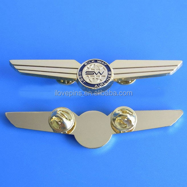 Airline Polit Wing Badge Butterfly Clutch Backing , Die Cut Zinc Alloy Wing  Lapel Pin