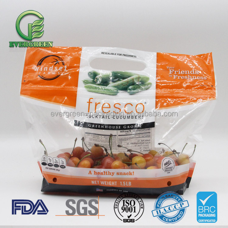Fresh fruit vegetable plasitc packaging bag with hole