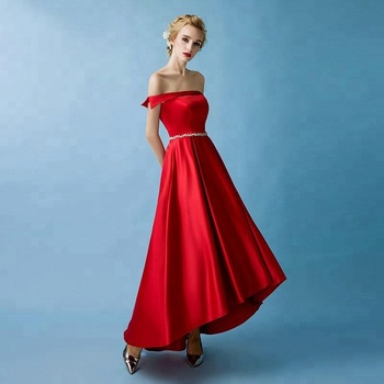 1188649b88 New Red Evening Party Dress Sexy Off Shoulder Short Front Long Back Satin Prom  Dress