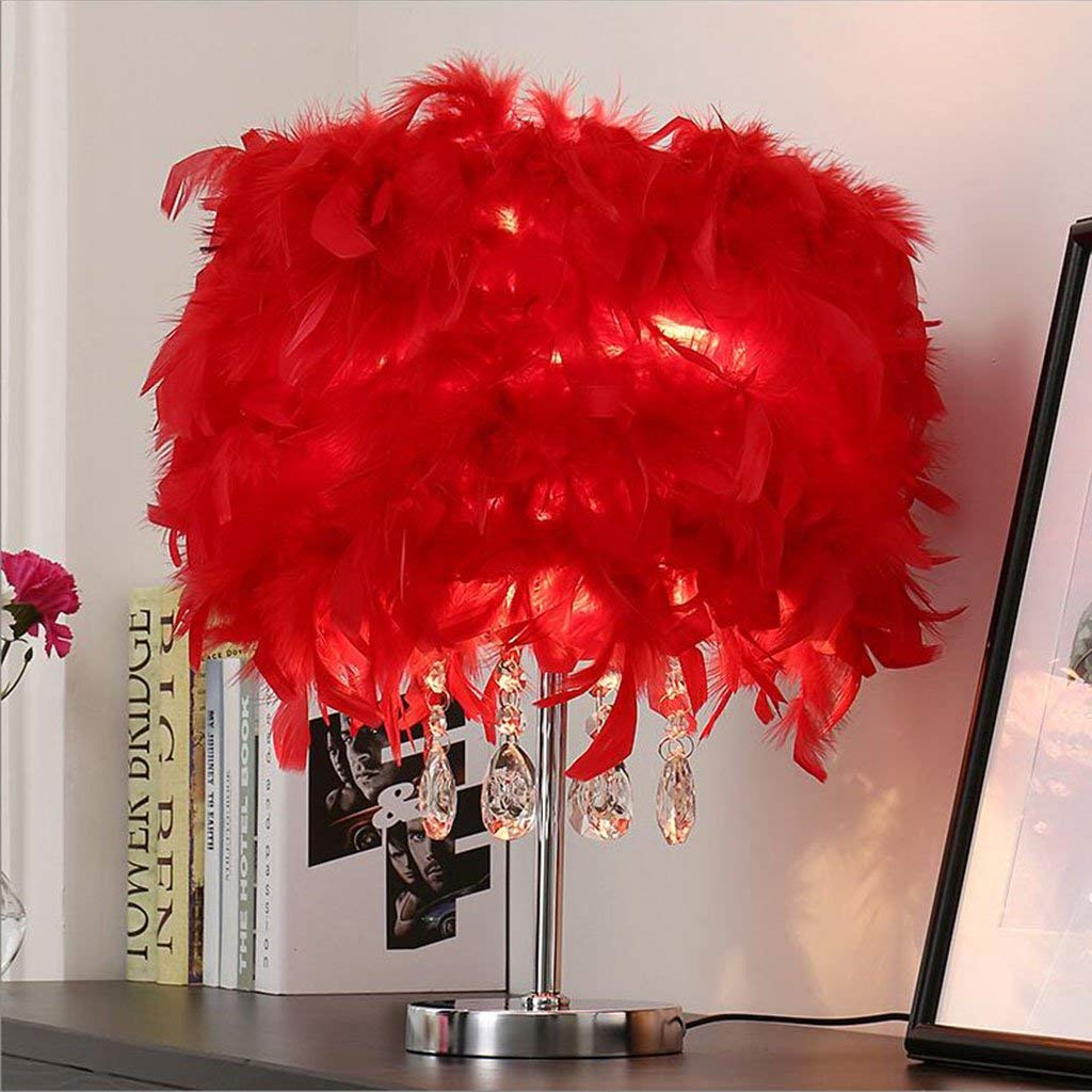 Le fu yan Feather Table Lamp Bedroom Bedside Lamp Modern Minimalist Wedding Room Decorative Lights Button Crystal Table Lamp (Color : Red, Material : White lamp body)