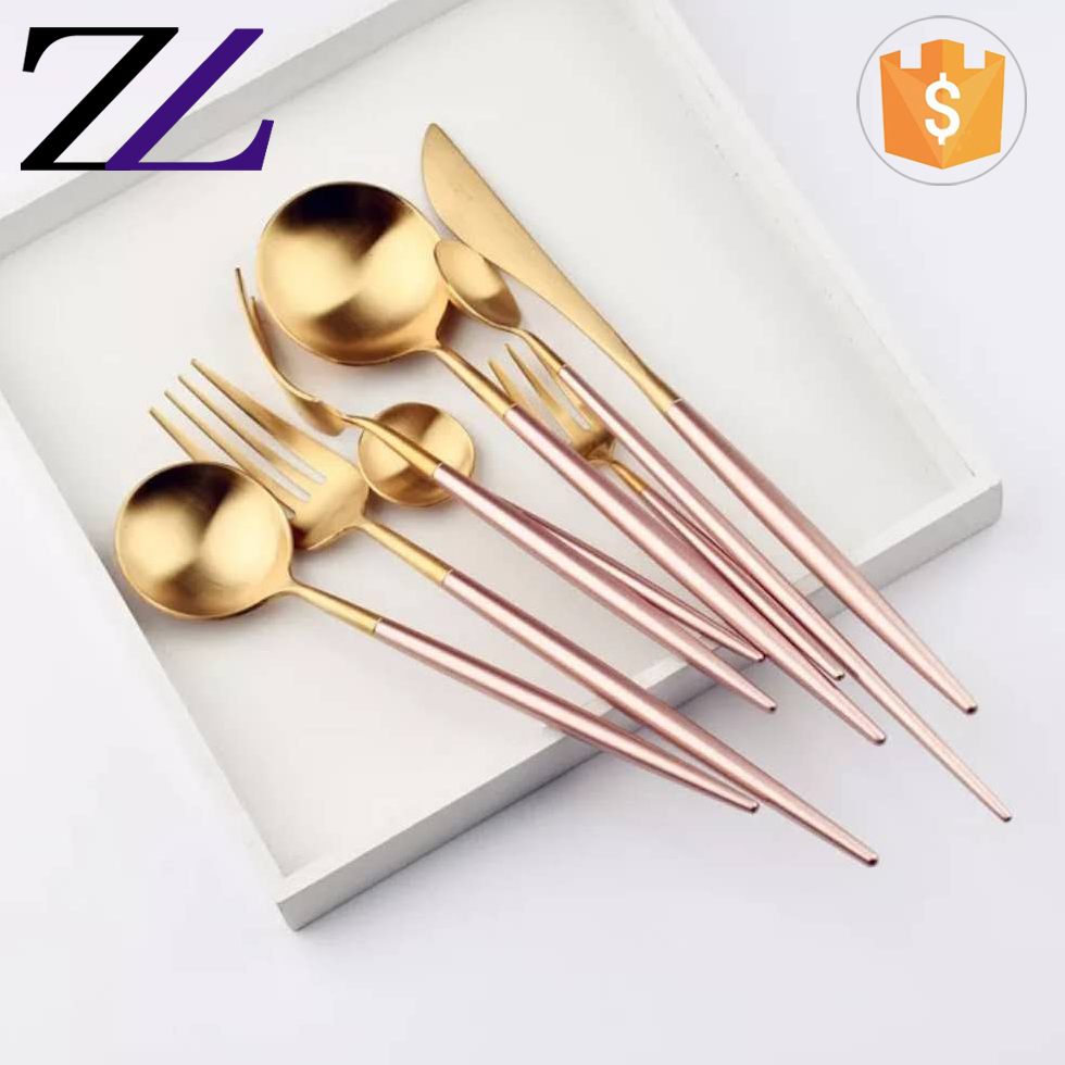 Italian crystal brass luxury wedding used flatware set gold plated 304 stainless steel edible tableware