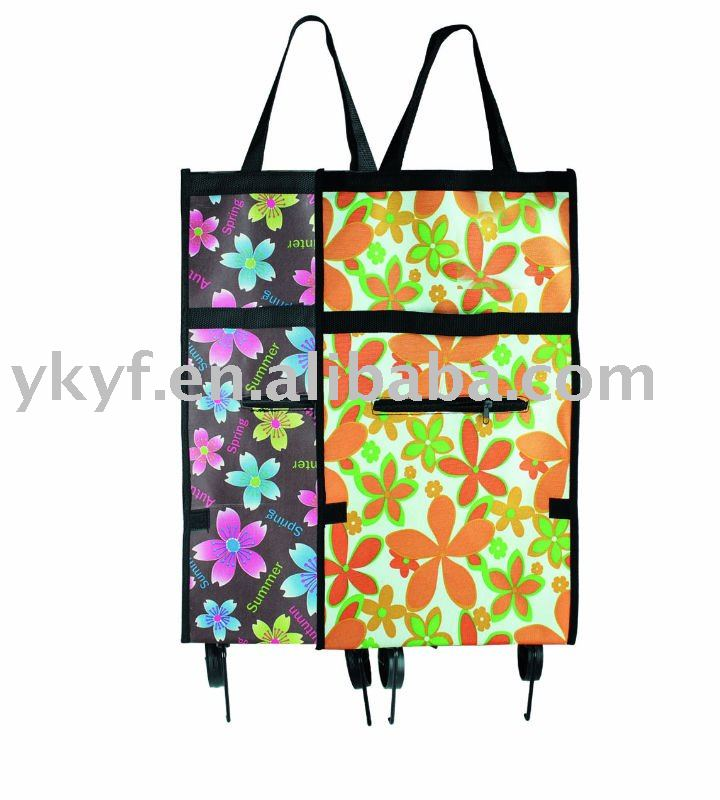 600D polyester Foldable Shopping Trolley Bag