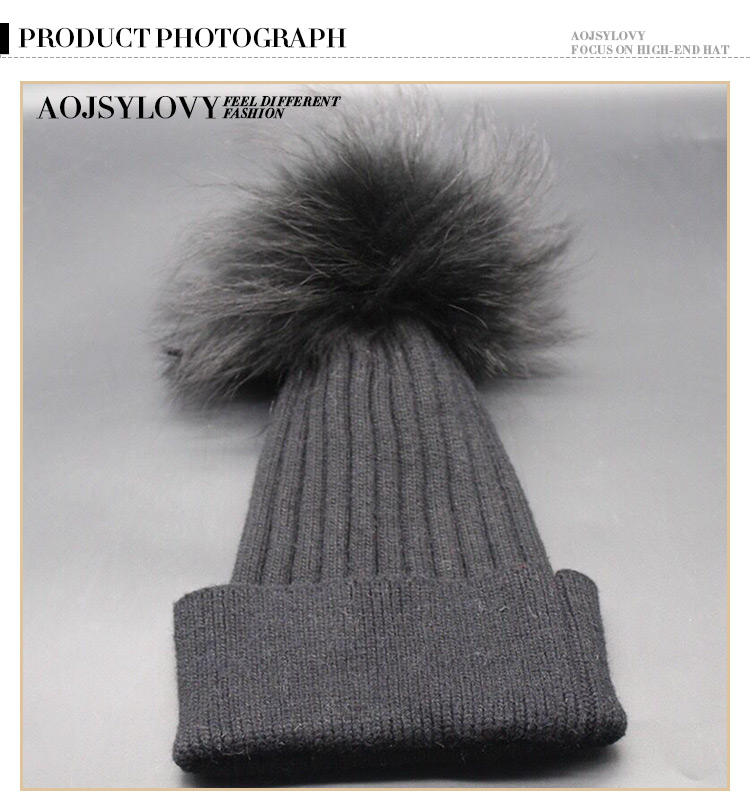 Welcome Winter High Quality Knitted Bennie Fur Pom Hats Cashmere