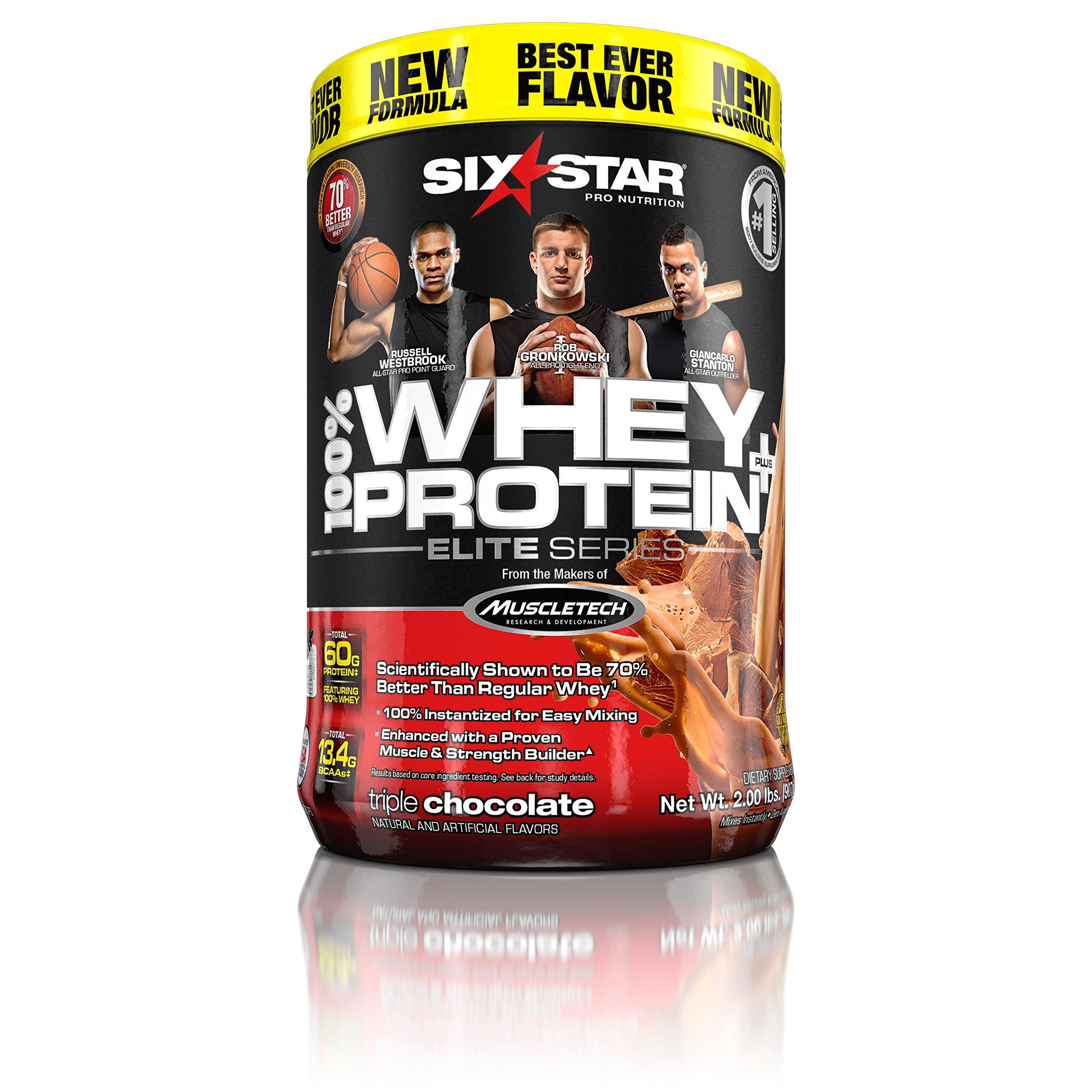 Six Star Pro Nutrition 100% Whey Protein Plus, 32g Ultra-Pure Whey Protein Powder, Triple Chocolate, 2 Pound