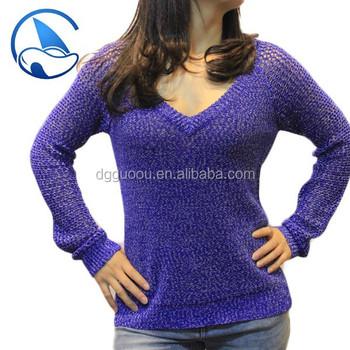 Purple Mix Yarn Design Of Hand Knitted Sweater