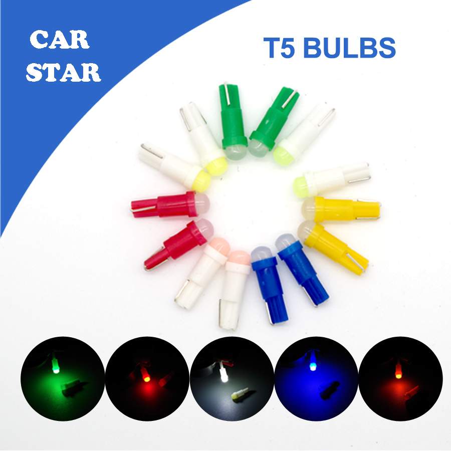 Free shipping 20Pcs Lot 12V 0 5W T5 W2W B8 5D Car LED Instrument Lights with7