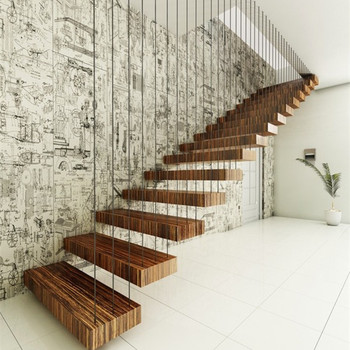 Superbe Floating Staircase With Stainless Steel Cable Railing