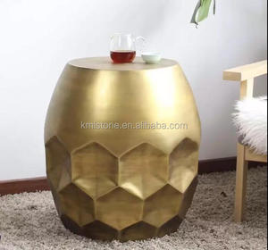 Living room sofa copper drum movable side table